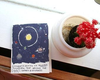 Solar System - Sun Trip - Birthday - Letterpressed Card