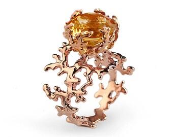 CORAL Citrine Engagement Ring, 14k Rose Gold Citrine Ring, Unique Rose Gold Ring, Large Yellow Citrine Ring, Statement Ring