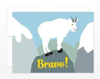 Congratulations Card, Bravo Greeting Card, Mountain Goat Card, Graduation Card, New Job Card, Congrats Card, Funny Card, Cheers Card, Hooray