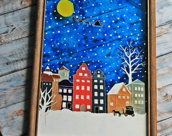 "Stained glass painting ""Winter Amsterdam"""