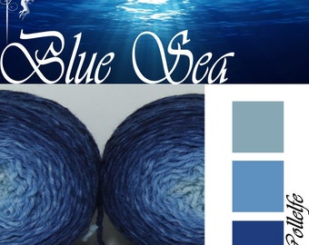 Blue Sea* Sock Gradient yarn Merino hand dyed 2 x 50g