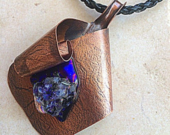 Blue Dichroic Fused Glass Copper Metalsmith Pendant Steampunk Artistic Handmade Wearable Art Fantasy Forged Metal Necklace