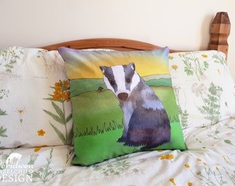 Badger Illustration Throw Cushion, Pillow, Cushion Cover, Decorative Cushion, Home Decor, Badger Gift