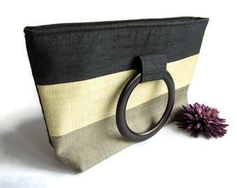 Silk Handbag With Wooden Handles; Asian Handbag, Cambodian Handbag, Cloth Handbag, Fiber Handbag, Silk Handbag
