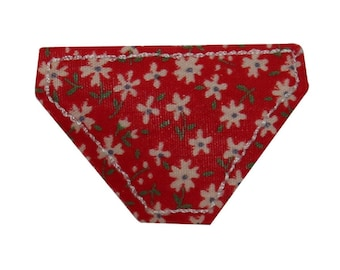 ID 7857 Red Flower Bikini Bottom Patch Swim Suit Embroidered Iron On Applique