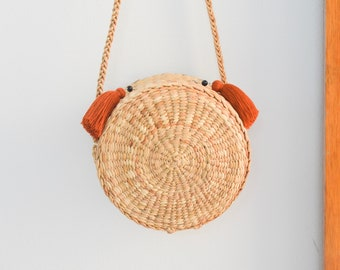 Straw bag Thai Weaving seagrass(water hyacinth) cross body bag handmade with knitting strap boho bag in round s : with tassels