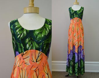 1960s Dela-Ann Foliage Maxi Dress