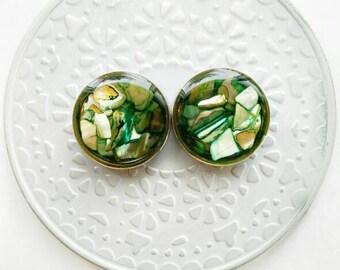 """Green Abalone Plugs - 00g, 7/16, 1/2, 9/16, 5/8, 3/4, 7/8, 1"""", 1 1/8, 1 1/4, 1 3/8, 1 1/2, 1 5/8, 1 3/4, 1 7/8, 2"""""""
