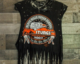 Harley Davidson - Fringe Shirt - Distressed shirt - Custom band shirt - Rock and Roll - Reworked band tee - Shredded Dreams - Medium