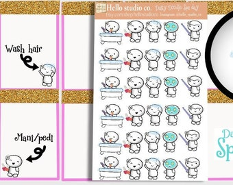 Spa day planner stickers Doodle stickers Emoti Stickers hand drawn stickers