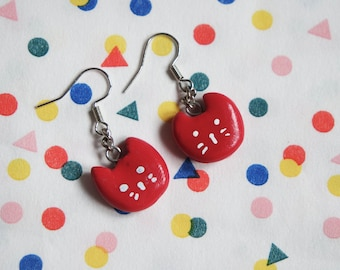 Small red Cat Earrings