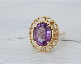 Vintage Amethyst Ring | Statement Engagement Ring | February Birthstone Ring | 14k Yellow Gold Ring | Oval Ring | 1980s Jewelry | Size 6.5