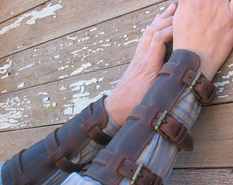Steampunk Oiled Brown Leather Gauntlets or Bracers with Antiqued Brass Hardware