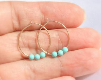Hoop earrings , Small gold hoop earrings, Large Hoops, Silver Hoop Earrings / Gold Hoop Earrings /  Turquoise hoops