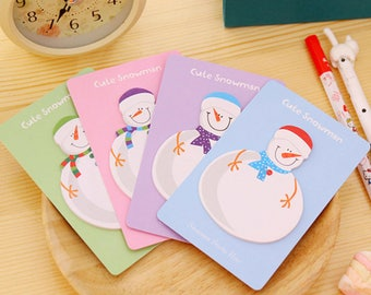 Snowman Sticky Notes/Christmas/Memo Pad/Post It Notes/Journal/School Office Supplies/Note Pads/Notepad/Post it note/Snowman