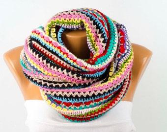 Colorful crochet loop scarf ,rainbow colored crochet chunky , infinity scarf,
