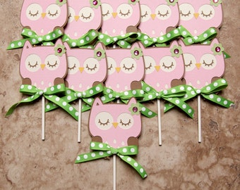 Owl cupcake toppers- 16 pack pink with ribbon