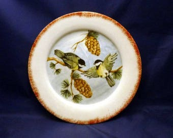 Vintage Black Capped Chickadees on Pine Branch Decorator Plate, 1980s