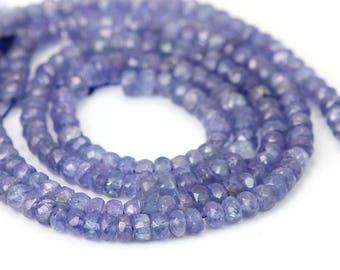 Tanzanite Micro Faceted Rondelles 10 Large Periwinkle Semi Precious Gemstone Beads
