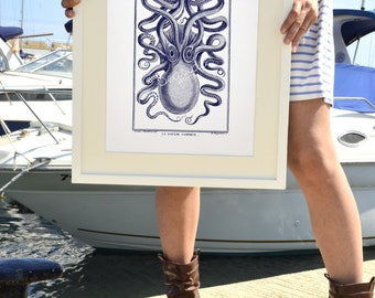 Octopus in navy blue front side - Octopus A3 plus sized Poster Wall Art -  sea life print SAS139A3P