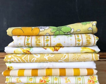 Vintage Pillowcases - Yellows - Vintage Mix - Set of 8 - Standard Vintage Pillowcases - Vintage Sheets