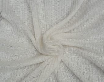 """Ivory Wool Blend 2x4 Ribbed Sweater Knit Fabric by Yard #1 61""""W 7/15"""
