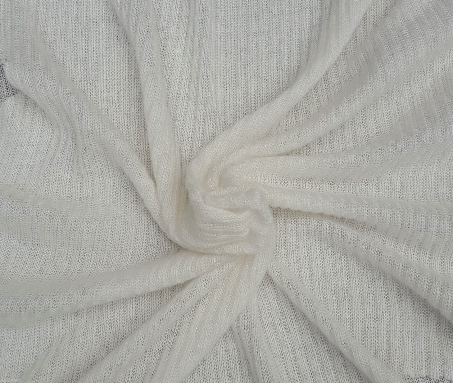 Ivory Wool Blend 2x4 Ribbed Sweater Knit Fabric by Yard 1