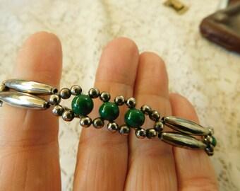 Faux Malachite Bracelet, Silver Bracelet, Southwest Bracelet, Vintage Bracelet