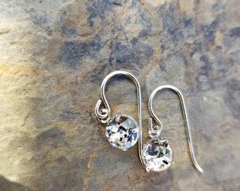 Minimalist Crystal Earrings / Swarovski Crystals  / sterling silver