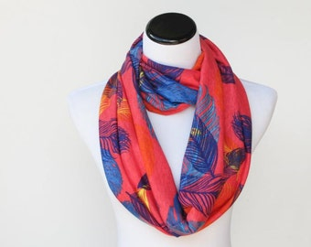 Feather print Scar Infinity scarf feather print soft jersey knit loop scarf fuchsia red pink blue feminine circle scarf gift for mom & girl