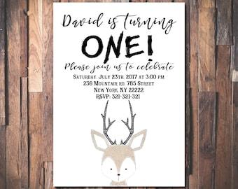 Deer Birthday Invitation, Deer Invitation, Little Deer Invitation, Woodland Birthday Invitation, Woodland Invitation 1055