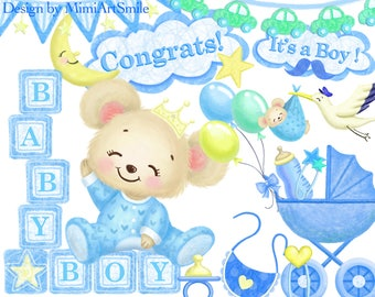 baby boy clipart, baby shower clipart, teddy bear, stroller clipart, it's a boy, building block clipart, stork clipart, garland clipart,blue