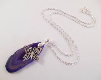 Purple Agate Necklace - Purple Agate Slab Butterfly Charm Necklace