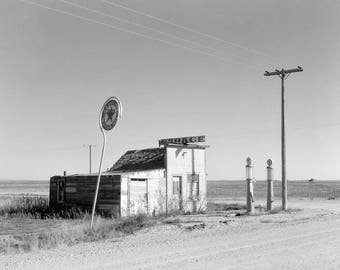 Abandoned Gas Station, 1937. Vintage Photo Reproduction Poster Print. Black & White Photograph. Garage, Filling Station, Desolate, 1930s.