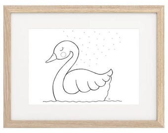 Swan Hand Painted