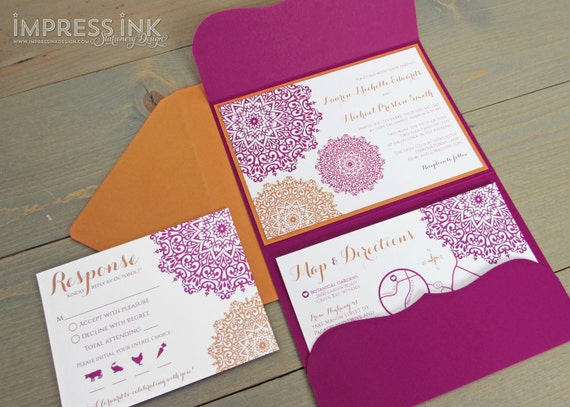 Moroccan Filigree Wedding Invitation Sample Flat or Pocket