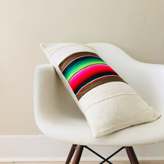 "Boho Brown Serape Pillow Cover 14""x24"" Lumbar Cushion Pillow Ethnic Bohemian Rainbow Striped Motif Cream White Mud Cloth Pillow"