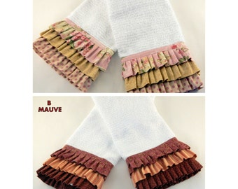Ruffled Kitchen Towels, Decorative Towels. Linens, Rose Colored Kitchen Towels, Mauve Kitchen Towels, Great Gift Idea, SOLD IN PAIRS!