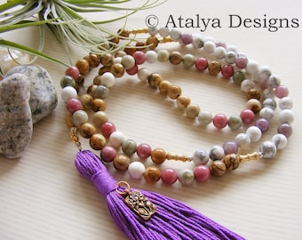 Lotus Howlite Picture Jasper Mala - Pink White Gemstone Yoga Necklace Meditation - Made in the UK