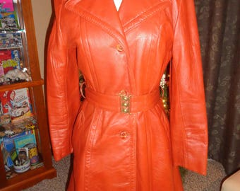 Vintage 70s Caramel Leather Coat with Quilted Zippered Lining