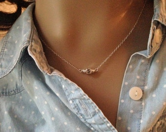 Sterling Silver Initial Bead Necklace - Teen Necklace - Personalized Necklace - Teen Girl Gift - Square Initial Necklace - Woman's Necklace