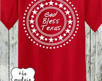 God Bless Texas Patriotic - Summer July 4 Graphic T-Shirt Customize