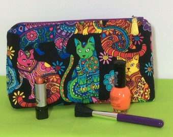 Colorful Cats Cosmetic Bag with Zipper Closure