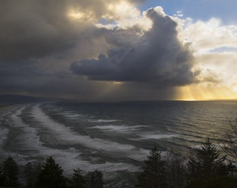 Digital download Stormy clouds at Oregon coast fine art photography Pacific Northwest sunset printable photo