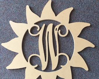 Custom UNFINISHED Sun DIY monogram letter door hanger/24 inch/party/wedding/bridal shower/ baby/wall decor/art
