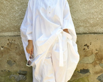 Oversize summer top and pants/White 100% linen SET/Casual Top Pants Set/Loose tunic/Maxi tunic/White linen pants/Oversize set/Handmade/P1466