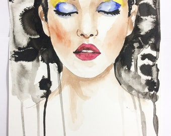 Original painting woman face abstract fashion ink watercolor by N.Collins