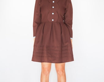 Brown mod dress - mad men women dress - winter vintage look custom made