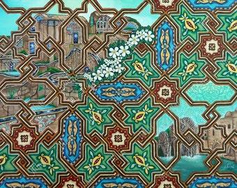 Original painting, Islamic art, Canadian Artwork, decoration, mosaic, Mosques, palace, jasmin, North American art, oil color