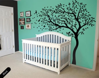 Tree wall decal huge tree wall decals nursery wall decor large wall mural kids room wall decoration with cute birds and leaves - 098 & Tree wall decal huge tree wall decals nursery wall decor wall